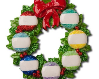 Personalized Wreath Family of 7 Christmas Ornament