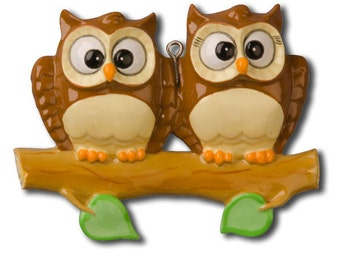 Personalized Owl Family of 2 Christmas Ornament