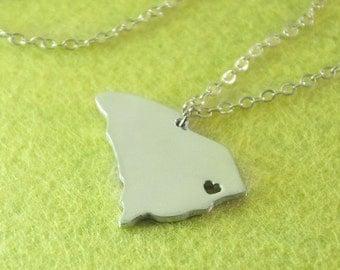 I heart  South Carolina Necklace, Custom South Carolina Necklace, State Map Jewelry, Personalized Silver Pendant ,Map Jewelry