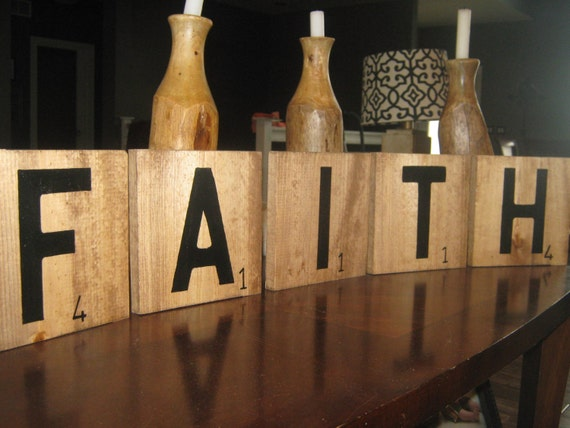 Large Scrabble Tiles, set of 5, you pick.  Wood, stained and hand painted.  7.25 x 7.25 in.