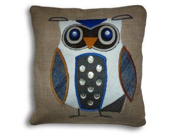 Hand made, uniquely designed applique owl cushions