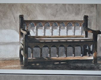 Mission Bench Watercolor Print