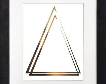 5x7, 8x10,11x4,pdf 18x24 jpeg, copper triangle print, instant download.