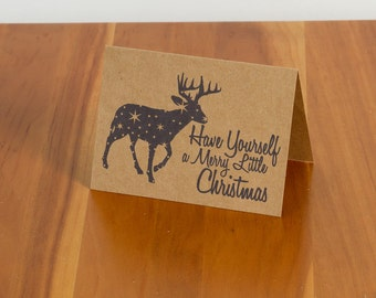 """FREE SHIPPING!!  Starry Reindeer """"Have Yourself A Merry Little Christmas"""" Handmade Card"""