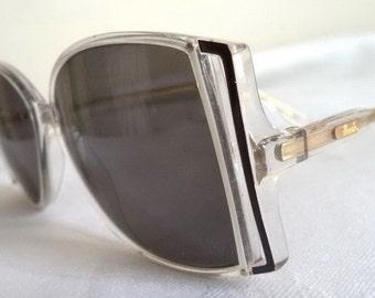 Silhouette SPX Eyeglasses Sunglasses Art Deco 52-12 womens Oversized Vintage 80s Transparent black enamel Butterfly Hip mod austria
