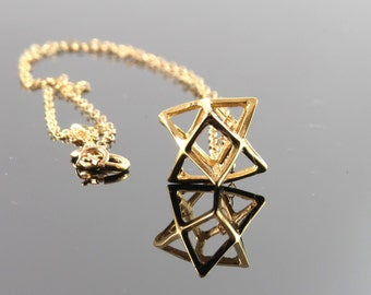 Large size gold Merkaba necklace , Merkaba pendant , Gold filled Merkaba , Kabala jewelry , 3D star of david
