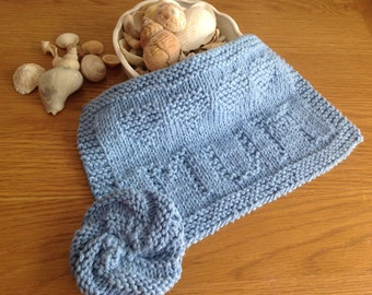 100% Cotton Eco Friendly Dishcloth/Washcloth in Light Blue with the word MUM & Hearts Knitted Across Plus Tawashi / Scrubbie