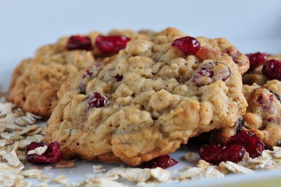 Soft and Chewy Cranberry Oatmeal Cookies Christmas Cookies Holiday Favors Wedding favors