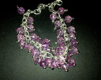 Pink  Crystal Dangle Bracelet