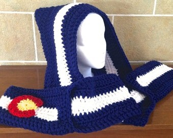 Colorado Themed Hooded Scarf with Pockets - Crochet - Warm - Winter - Slouchy Hood - Scoodie - Blue / White - OSFM