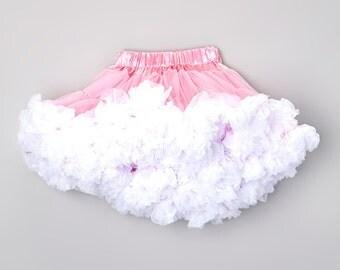 You choose size Infant Pettiskirt. Toddler Pettiskirt. Big Girl Pettiskirt. Pink & White Fluffly Petti skirt Tutu. You choose size