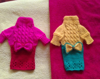 clothing for dog.Hand Knitted Dog Dress.Small dog Clothes