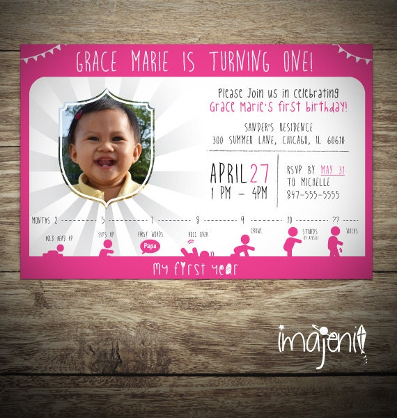 First Birthday Invitation Boy or Girl Orange Teal Infographic – My First Birthday Invitation