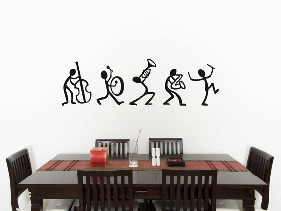 Music Stick Men Bedroom Wall Art Sticker Picture Decal