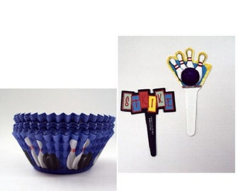 Bowling Picks with Bowling Baking Cups