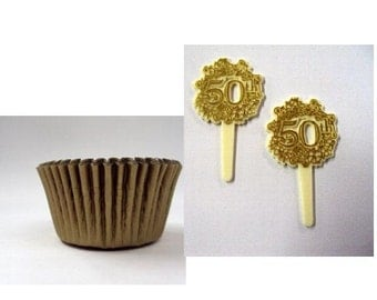 50th Anniversary Cupcake Picks with Gold Baking Cups