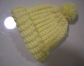 Yellow Crochet Baby Hat - Fits Newborn to Three Months Old – Yellow Baby Hat - Winter Hat - READY TO SHIP