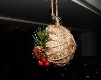 Rustic Christmas Ornament - Burlap Christmas Ornament - Rustic Christmas Decor - Country Christmas Decor - Rustic Christmas Decorations