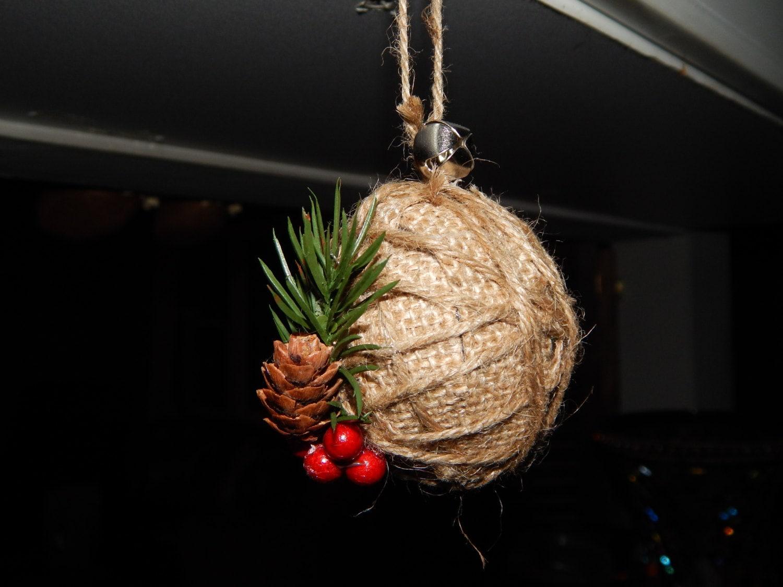 Rustic christmas ornament burlap christmas ornament rustic for How to make burlap christmas decorations