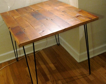 Small Reclaimed Wood Kitchen Dining Table With Steel Hairpin Legs