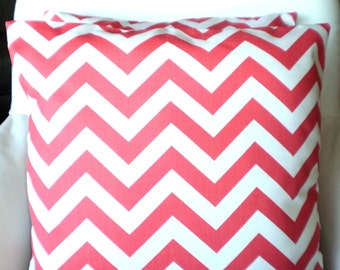 Coral Chevron Throw Pillows, Cushion Covers, Throw Pillow, Couch Pillows, Decorative Pillow, Bed Pillows Zig Zag One or More All Sizes