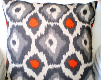 Orange Grey Pillow Covers, Decorative Throw Pillows, Cushions, Orange Grey on Darker Natural Adrian Ikat, Couch Bed 12 x 16 or 12 x 18