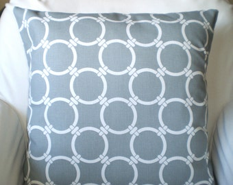 Grey Decorative Throw Pillow Covers, Cushions, Cool Gray White Linked Couch Pillows Throw Pillow, Circle Chain Link One or More All Sizes