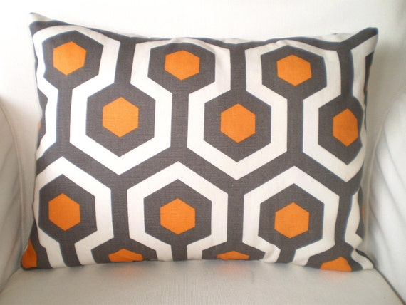 orange gray decorative throw pillow covers cushions couch. Black Bedroom Furniture Sets. Home Design Ideas