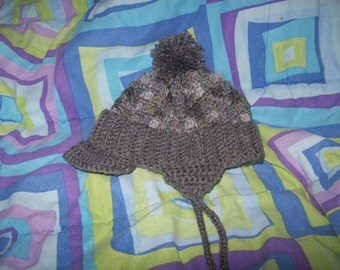 Hand Crocheted Child's Aviator Hat In Shades Of Gray
