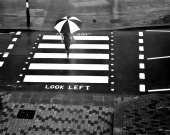 London photography rain rainy day umbrella print street photograph geometric London  black and white photo art umbrella home decor wallart