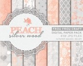 Peach Silver Digital Paper Pack Instant Download Grey Pink Vintage Wood Chevron Floral Flowers Swirl Damask Petal Spring Summer 6x6 inches