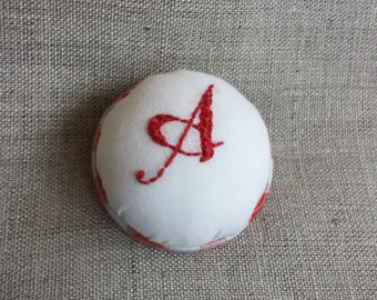 Upcycled Pin Cushion Brooch with Hand Embroidered Monogram 'A'