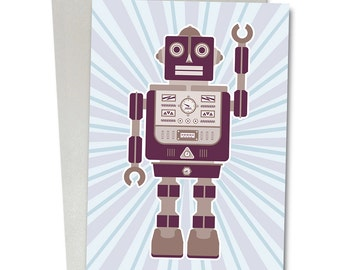 Greetings Card / Robot Card / Blank Card / Birthday card / Childrens card /Robot Norman