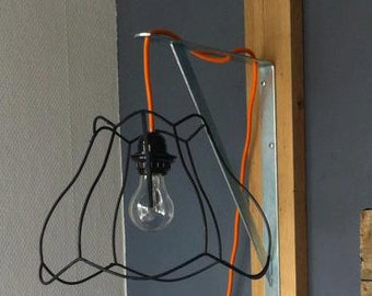 Unique hand-made Wall lamp. Design, industrial. Extra long 3 m cord strijkbout.