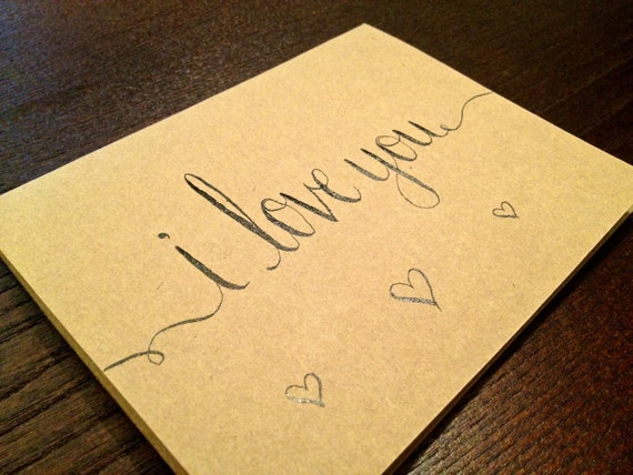 """Items similar to modern calligraphy note card """"i love"""