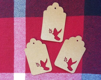 Die Cut Dove with Branch Tag