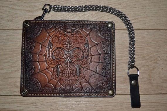 Custom Leather Wallet Biker Wallet Chain By Leatherandstitches