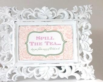 High Tea Bridal Shower Game - Spill the Tea