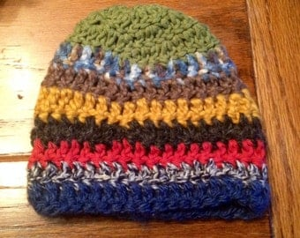 Crocheted Hat, Baby, Toddler, Multi-Colored, Thick, Cozy, Stripes, Whimsical, Boho