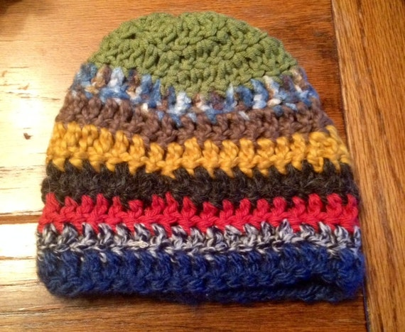 Free Crochet Pattern Multi Colored Hat : Crocheted Hat Baby Toddler Multi-Colored Thick Cozy