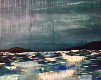 Original-36 x 48-Seascape-Enormous Painting - Painted in the USA , South Carolina CChen
