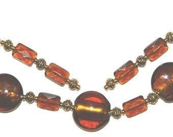 Beautiful Brown Amber Glass Bracelet and Earring Set