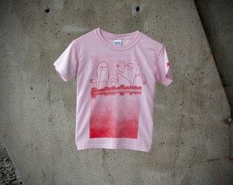 T-shirt Enfant Monstre Village Rose Fille Moustache Moutarde