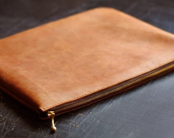 Handcrafted Leather Clutch for laptop, iPad