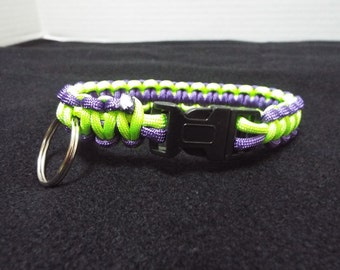 Paracord Dog Collar, Small Handmade Paracord / 550 cord Pet Collar, Purple and Green Custom Survival Animal Collar done in Cobra Stitch