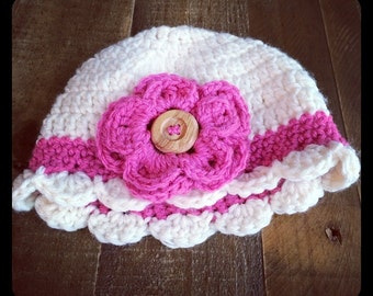 Crochet baby hat with flower and button, baby girl, infant hat, flower, button, baby beanie, newborn hat with flower