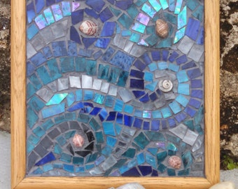 Stained Glass Ocean Wave Mosaic with Seashells Suncatcher