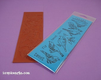 Sale / Whimsy Birds / Invoke Arts Collage Rubber Stamps / Unmounted Stamp Set