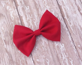 Red Fabric Hair Bow Clip or Headband / Red Bow / Red Hair Bow / Red Fabric Bow Clip / Red Bow Headband / Solid Red Bow / Solid Red Bow Clip