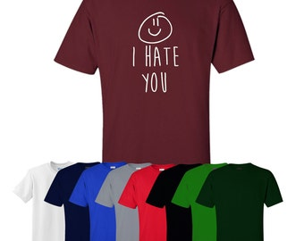 I Hate You T-shirt Printed Smiley Face Mens Womens UK Ships Worldwide S-XXL